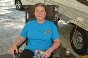 Jeannie relaxing in her favorite camping chair