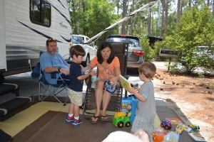 Playing with the camping toys