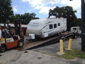 Island Time being loaded on trailer